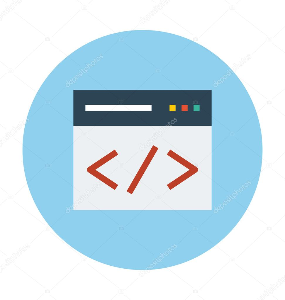 HTML Coding Colored Vector Illustration