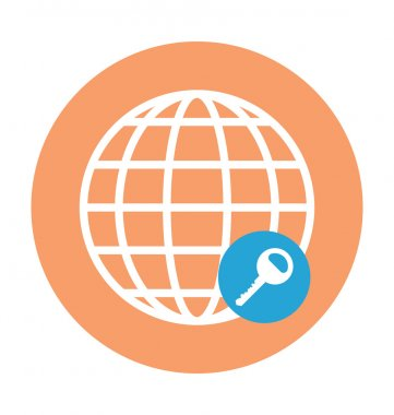 Globe Key Colored Vector Illustration