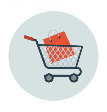 Shopping and Commerce flat colored icon. stock vector