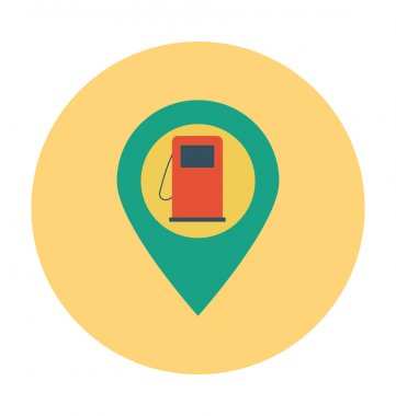 Gas Station Colored Vector Illustration