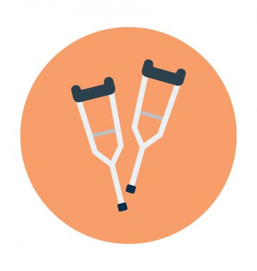 Crutches Colored Vector Icon