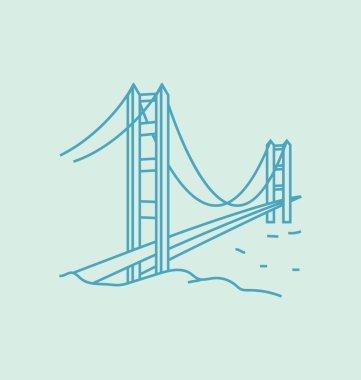 Golden Gate Bridge Solid Vector Illustration