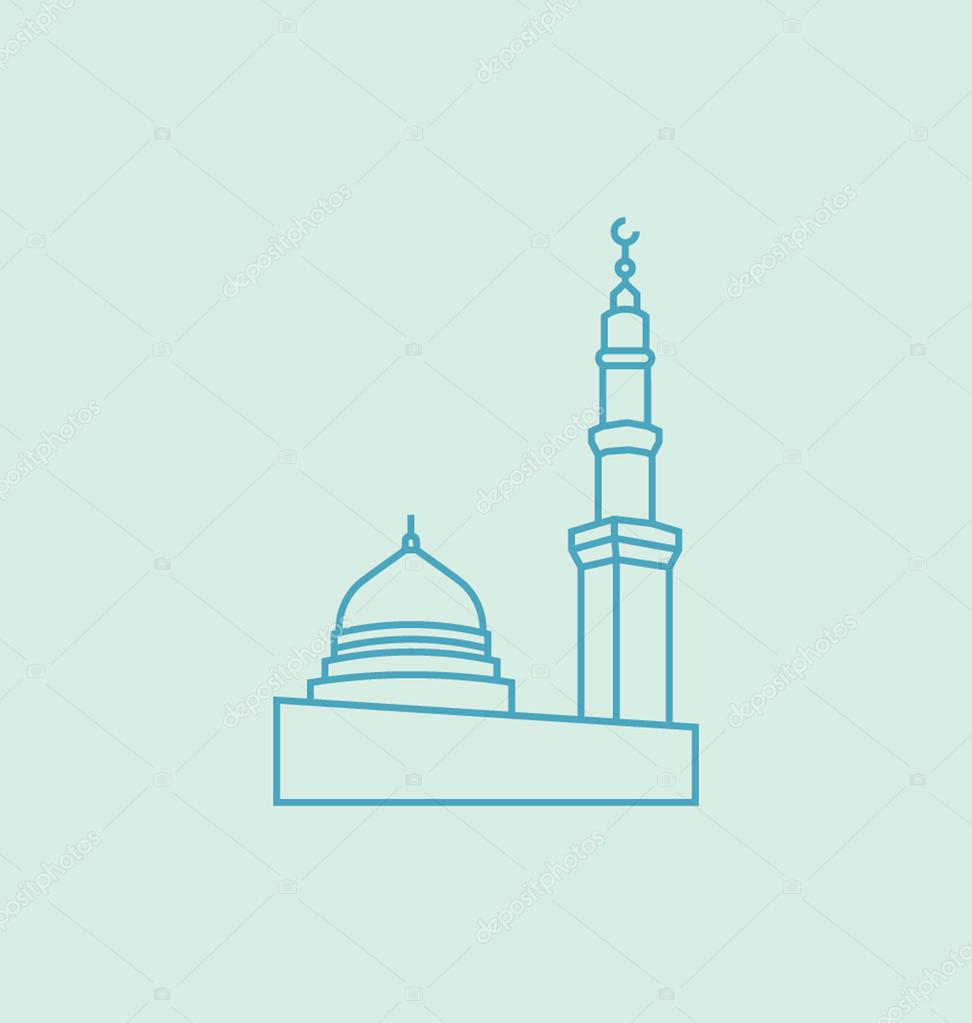 The Prophet's Mosque In Madina Solid Vector Illustration