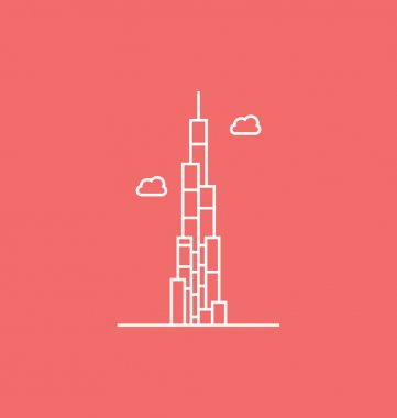 The Burj Khalifa colored Vector Illustration