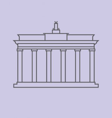 Brandenburg Gate, Berlin colored Vector Illustration