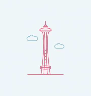 Space Needle colored vector Illustration