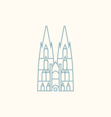 Cologne Cathedral colored Vector Illustration