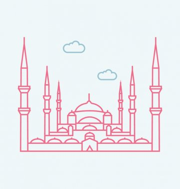 Blue Mosque, Istanbul colored Vector Illustration