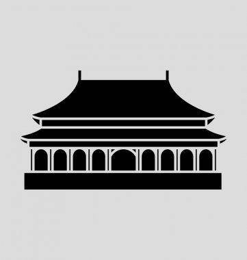Forbidden City Solid Vector Illustration
