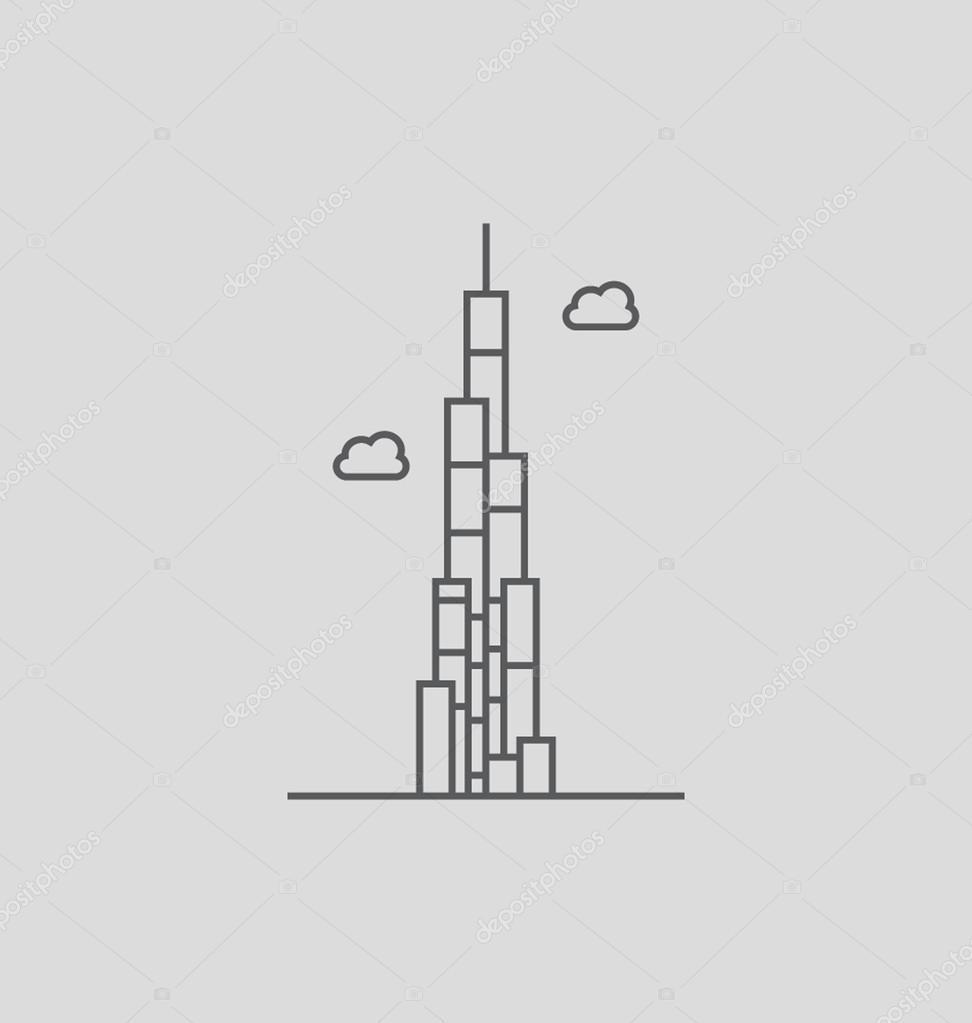 Line Art Xl 2000 : The burj khalifa solid vector illustration — stock