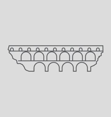 Pont Du Gard Solid Vector Illustration