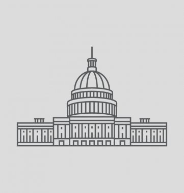 United States Capitol Solid Vector Illustration