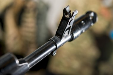 Sight with sight to Firearms machine closeup
