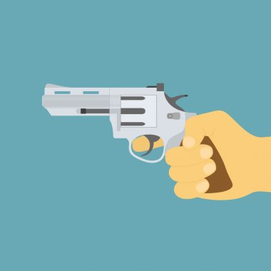 Picture of human hand with revolver gun, flat style icon stock vector