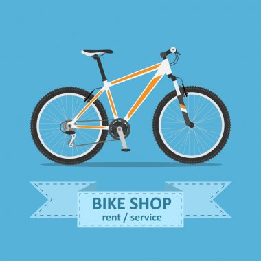 Picture of a mountain bicycle , flat style illustration stock vector
