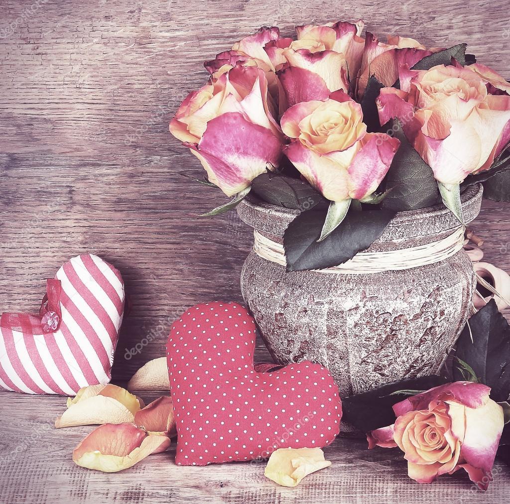 bouquet de roses anciennes couleurs rétro — photographie 1nana1