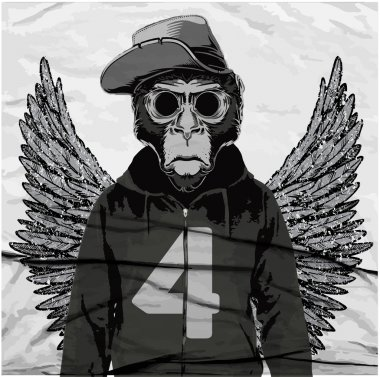Monkey Tee Graphic  illustration, t-shirt graphics, vector