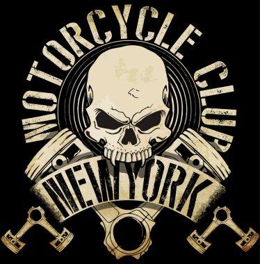 Vintage Biker Skull Emblem Tee Graphi