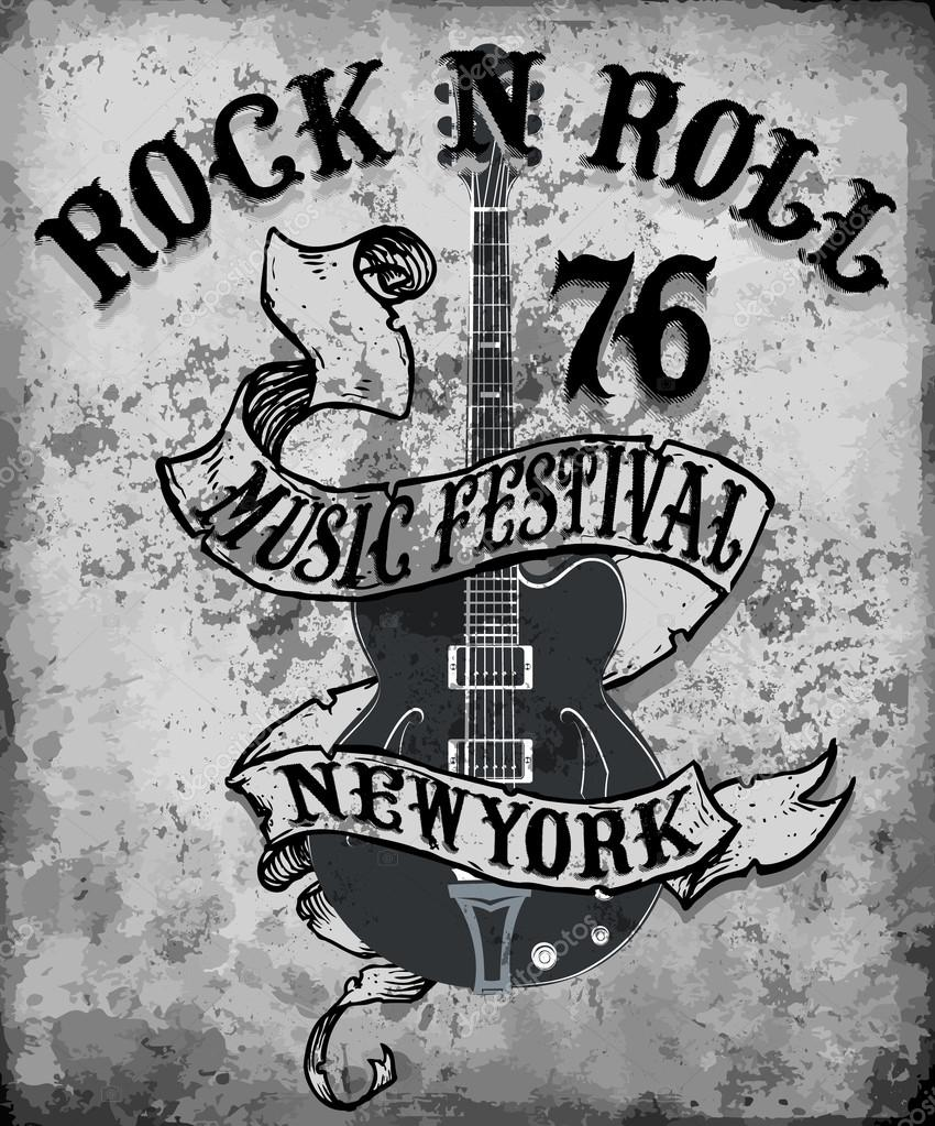 Rock n roll poster design - Rock N Roll Poster Guitar Graphic Design Tee Vector Art Stock Vector 114886446