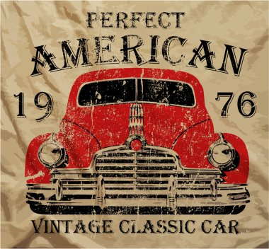 Old American Car Vintage Classic Retro man T shirt Graphic Design stock vector