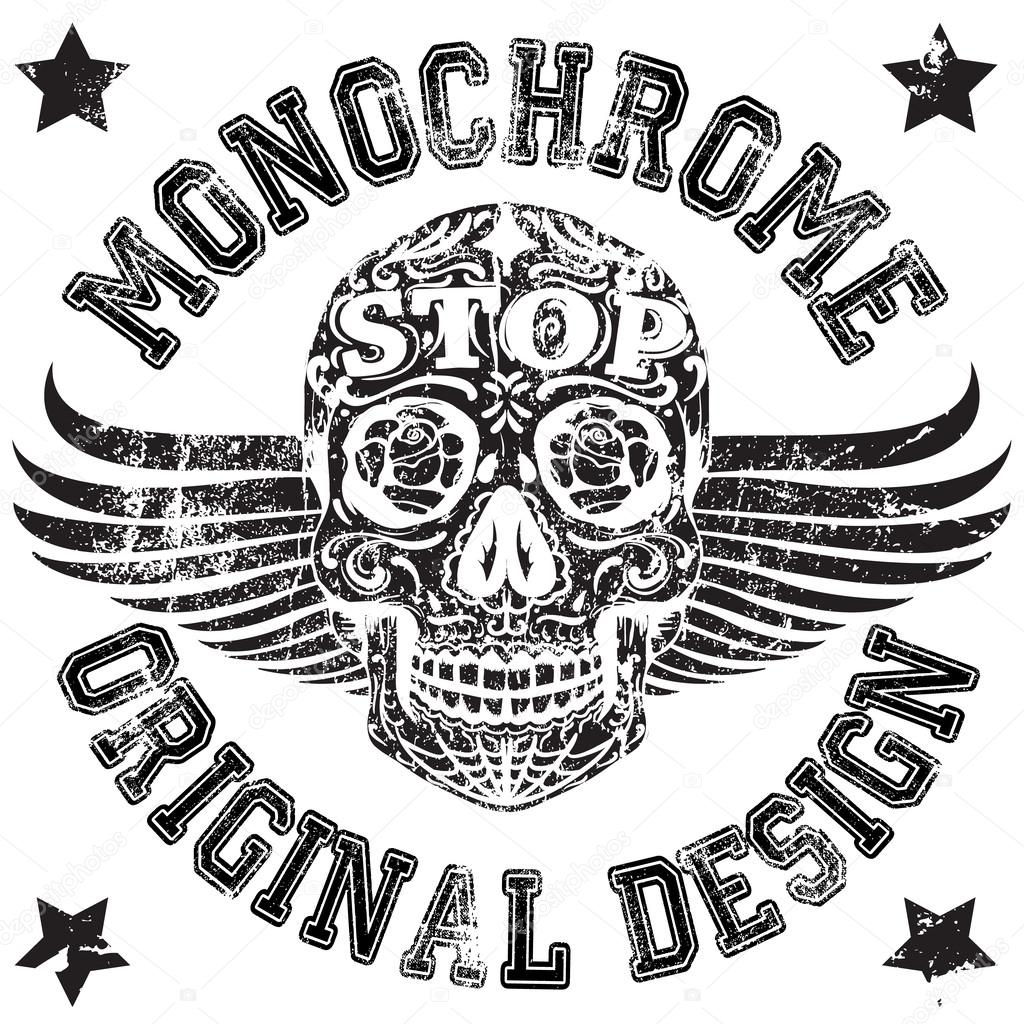 T shirt design vectors - Skull Monochrome College Man Boy T Shirt Design Stock Vector 62109781