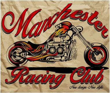 Illustration sketch motorcycle with t shirt prints vector graphic