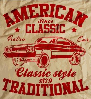 Old American Car Vintage Classic Retro man T shirt Graphic Desig