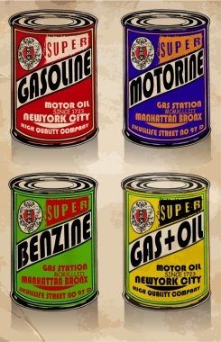 Gas stations and car service vintage tin signs collection. Set o