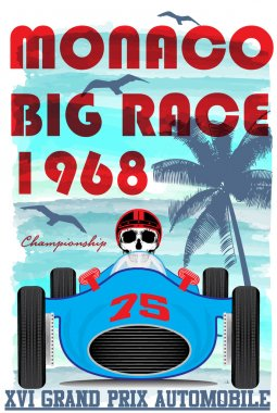 vintage race car for printing.vector old school race poster.retr
