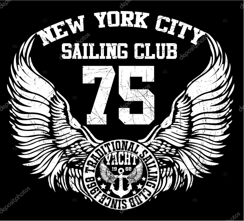 New york city sailing club vector art