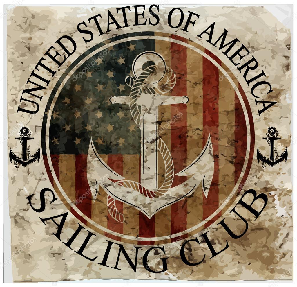 Newport sailing club, vector artwork for sportswear in custom co