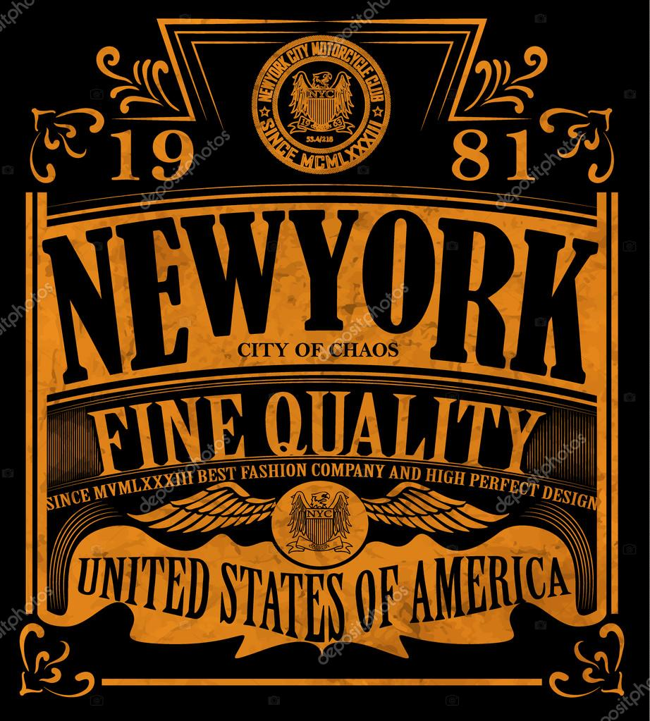 T Shirt Design York: New York Vintage Slogan Man T Shirt Graphic Vector Design
