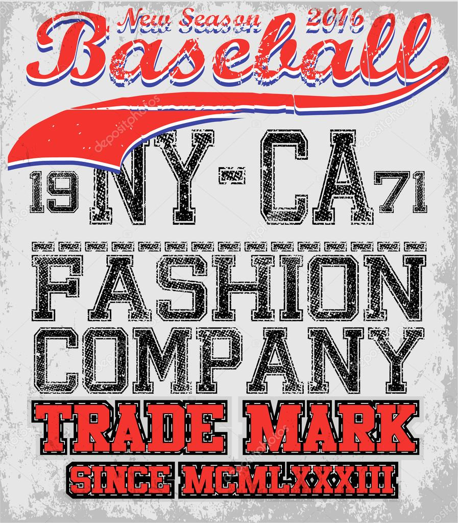 College baseball team badge in retro style. Graphic design for t