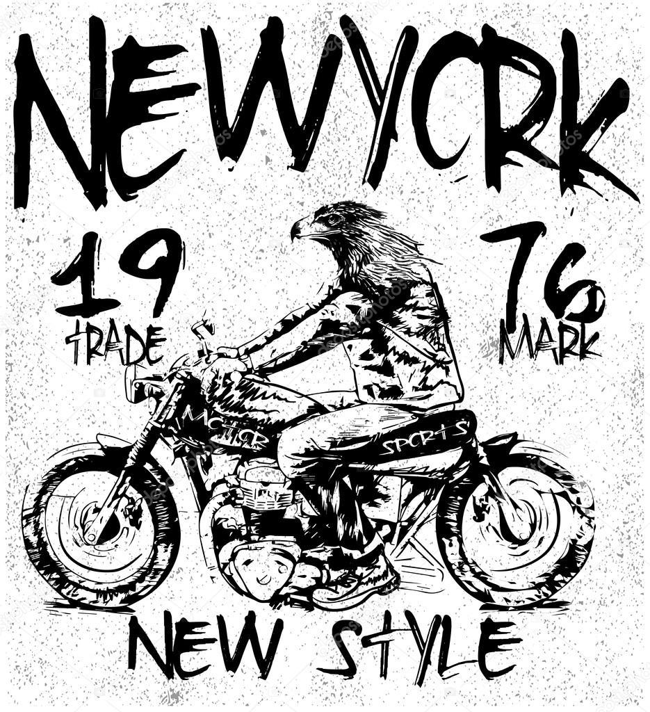 63af29f4c vintage motorcycle t-shirt graphic — Stock Vector © emeget #93541196
