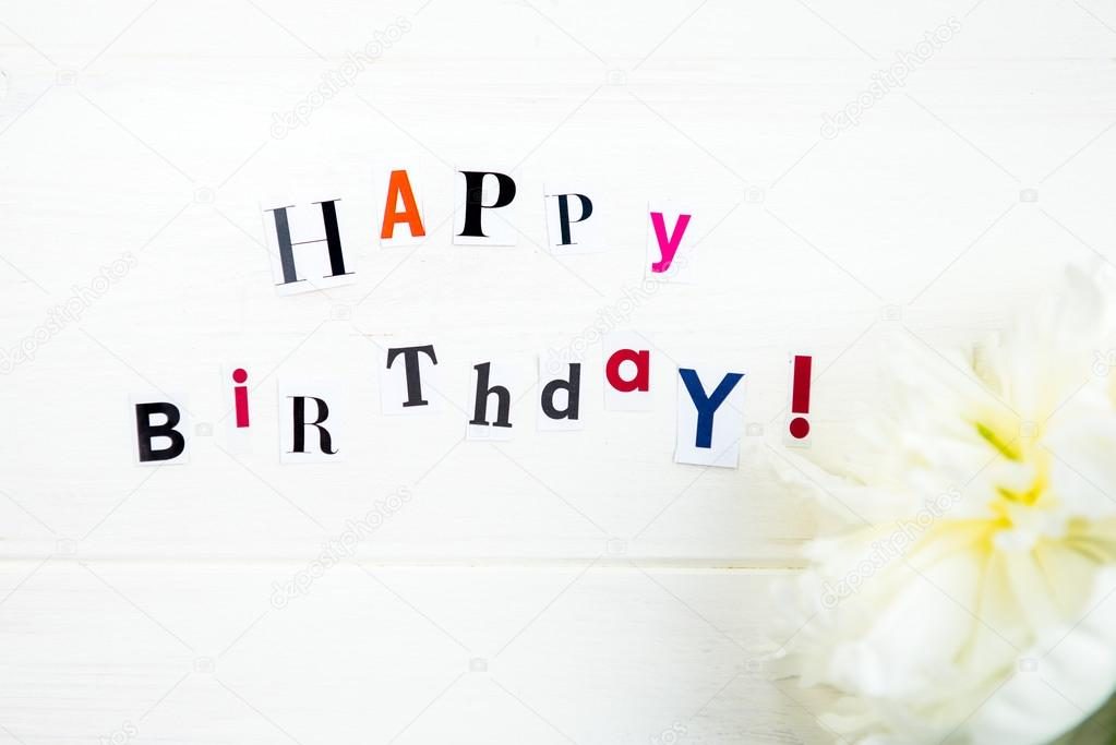 Happy birthday letters cut out from magazines and white peonies happy birthday letters cut out from magazines and white peonies stock photo spiritdancerdesigns Images