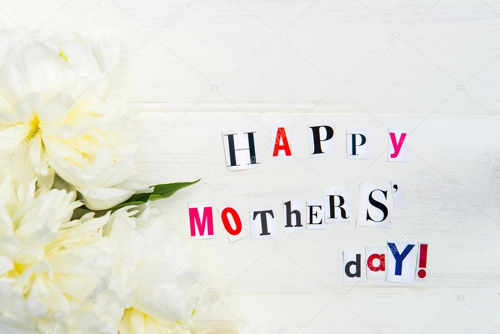 Happy mothers day letters cut out from magazines and white peoni happy mothers day letters cut out from magazines and white peoni stock photo spiritdancerdesigns Images
