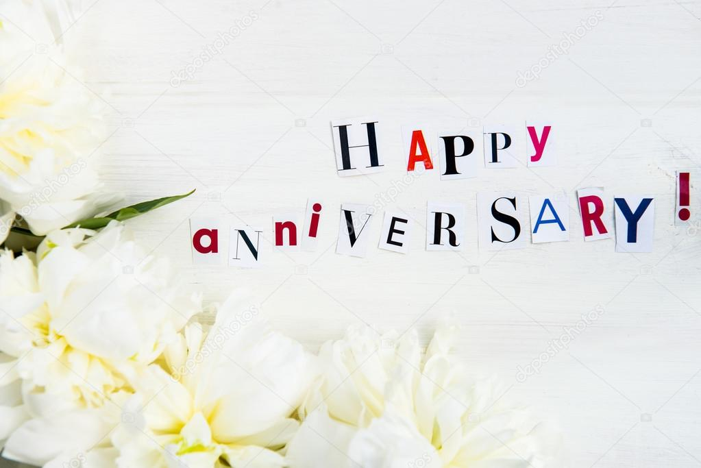 Happy anniversary letters cut out from magazines and white peoni happy anniversary letters cut out from magazines and white peoni stock photo spiritdancerdesigns Choice Image