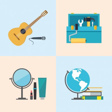 Set icons, flat design, beauty, toolbox, studies, music