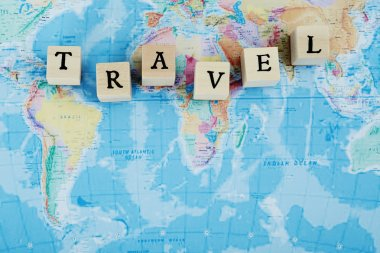 Travel spelled out in blocks