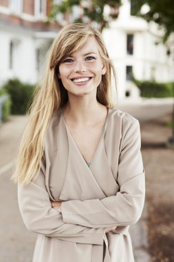 Beautiful blond woman smiling