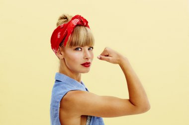 Strong young blond woman