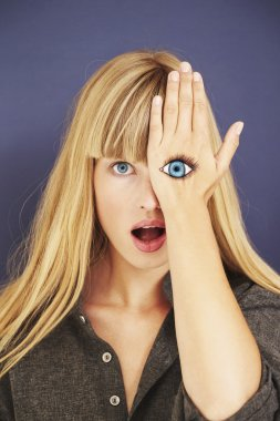Shocked blond woman