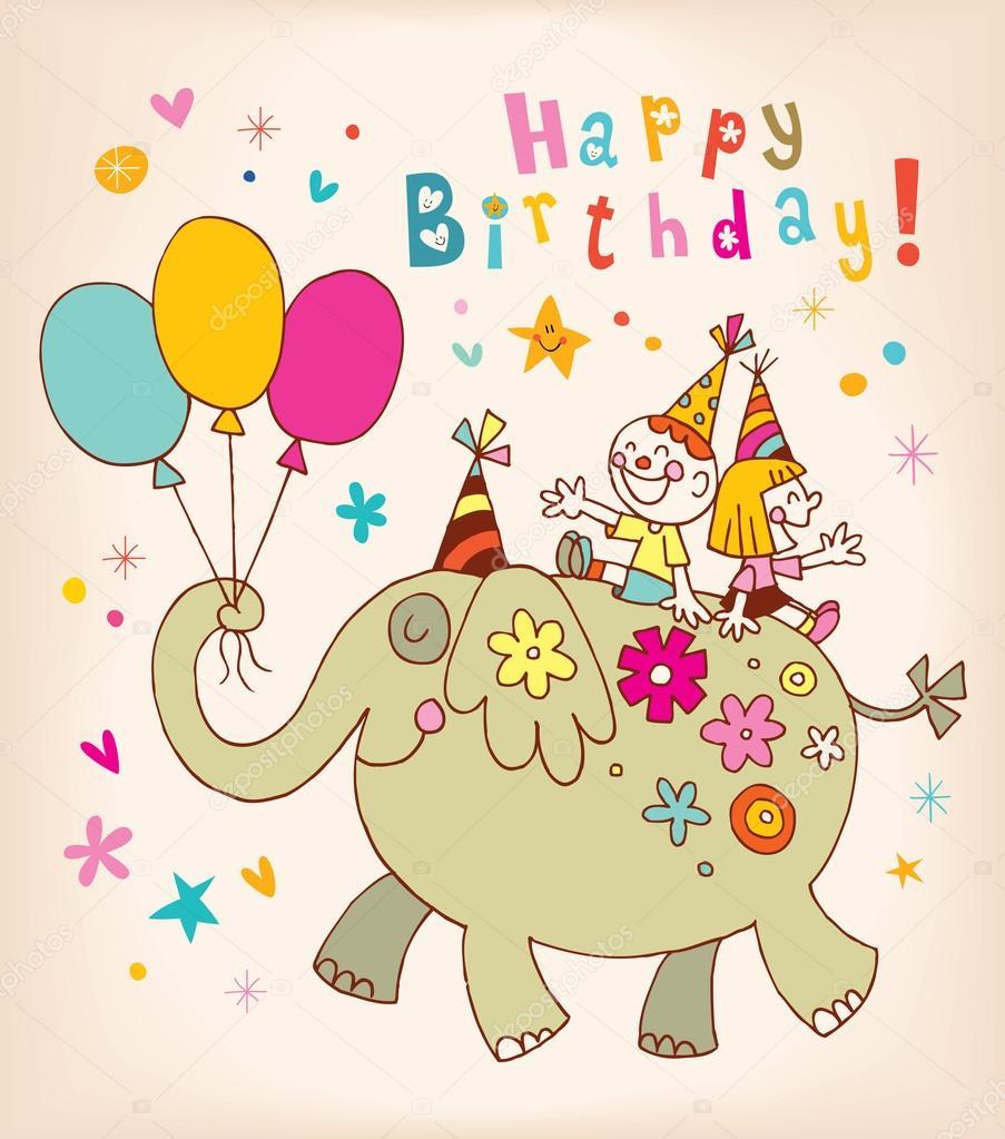 Favori de voeux joyeux anniversaire enfants — Image vectorielle #123817880 GM89