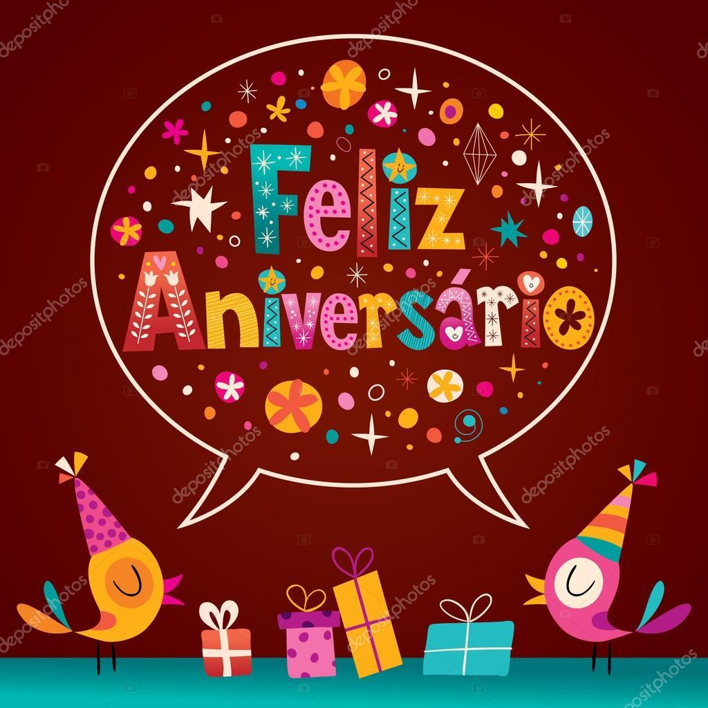 gefeliciteerd met je verjaardag in het portugees Feliz Aniversario Portugees Happy Birthday kaart — Stockvector  gefeliciteerd met je verjaardag in het portugees