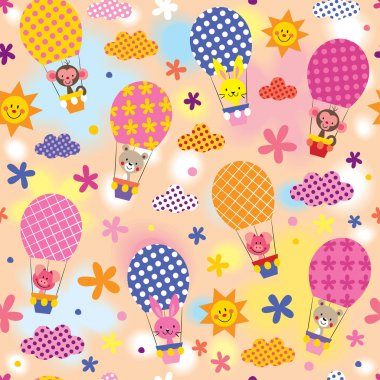 cute animals in hot air balloons