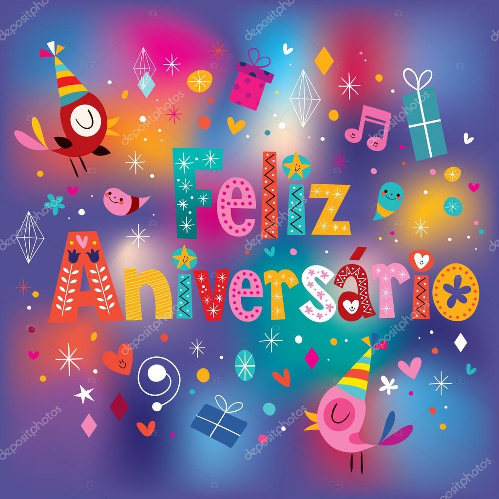 gefeliciteerd met je verjaardag in het portugees Feliz Aniversario Portugees Happy Birthday wenskaart — Stockvector  gefeliciteerd met je verjaardag in het portugees