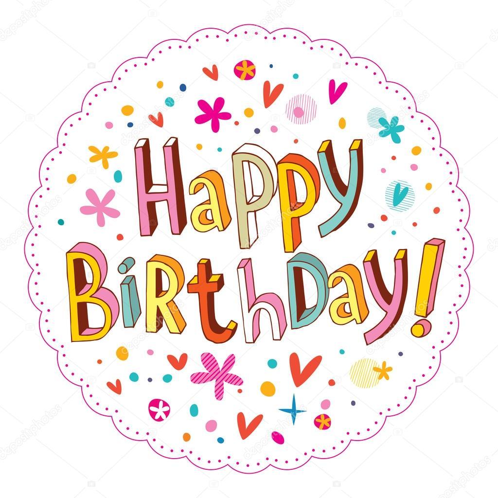 kreslené obrázky k narozeninám Šťastné narozeniny ručně kreslené písmo návrhu — Stock Vektor  kreslené obrázky k narozeninám