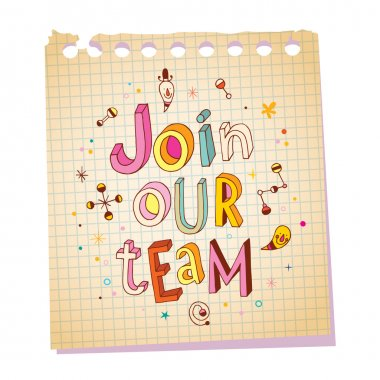 Join our team notepad paper message with unique hand lettering design