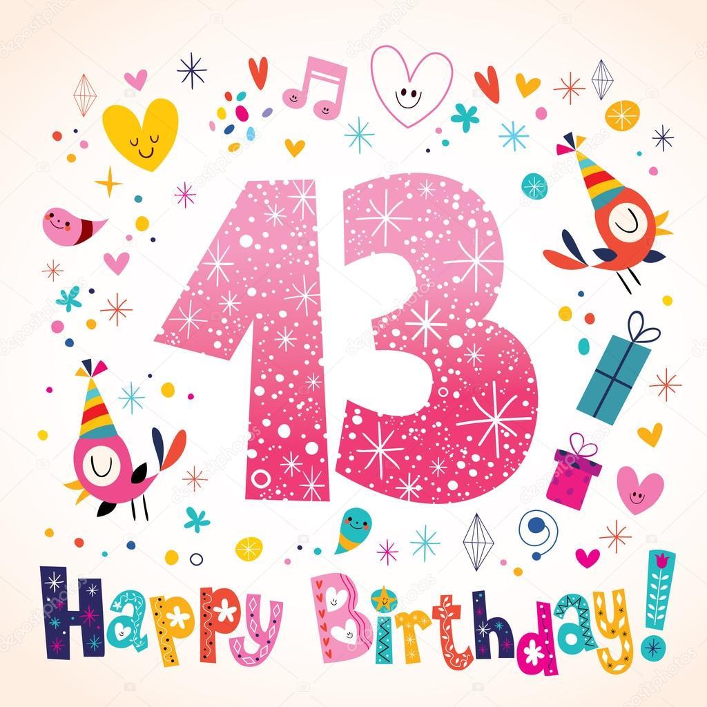 Gelukkige Verjaardag 13 Jaar Kinderen Wenskaart Stockvector