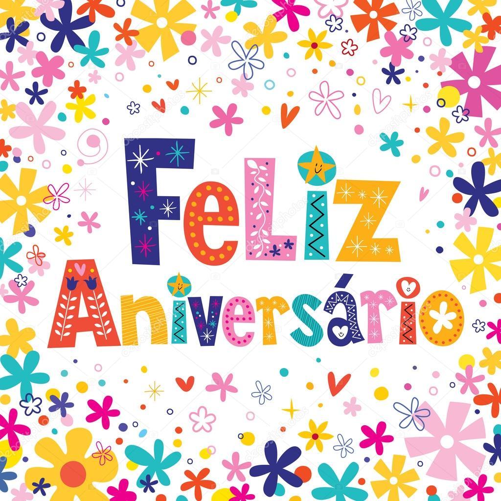 grattis på födelsedagen portugisiska Feliz Aniversario portugisiska på födelsedagen grattiskort — Stock  grattis på födelsedagen portugisiska